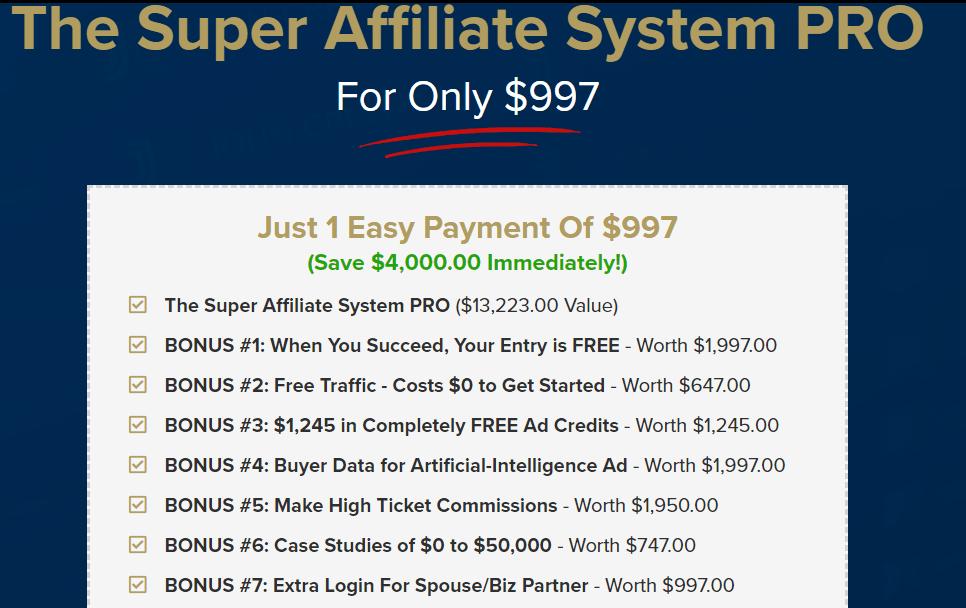 Super Affiliate System Price